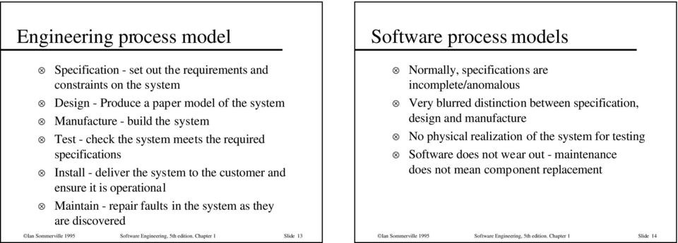 distinction between specification, design and manufacture No physical realization of the system for testing Software does not wear out - maintenance does not mean component replacement Maintain -