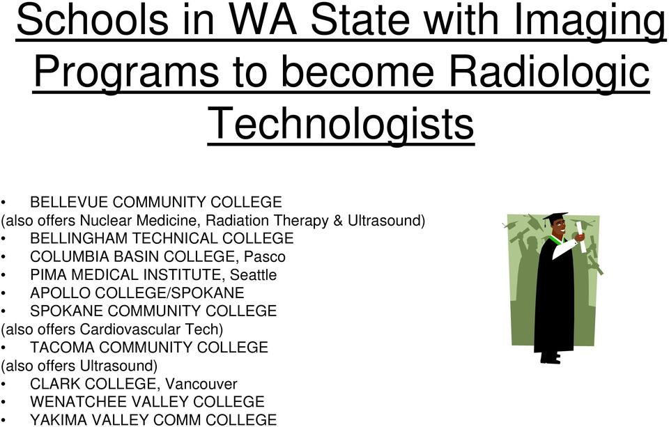 MEDICAL INSTITUTE, Seattle APOLLO COLLEGE/SPOKANE SPOKANE COMMUNITY COLLEGE (also offers Cardiovascular Tech) TACOMA