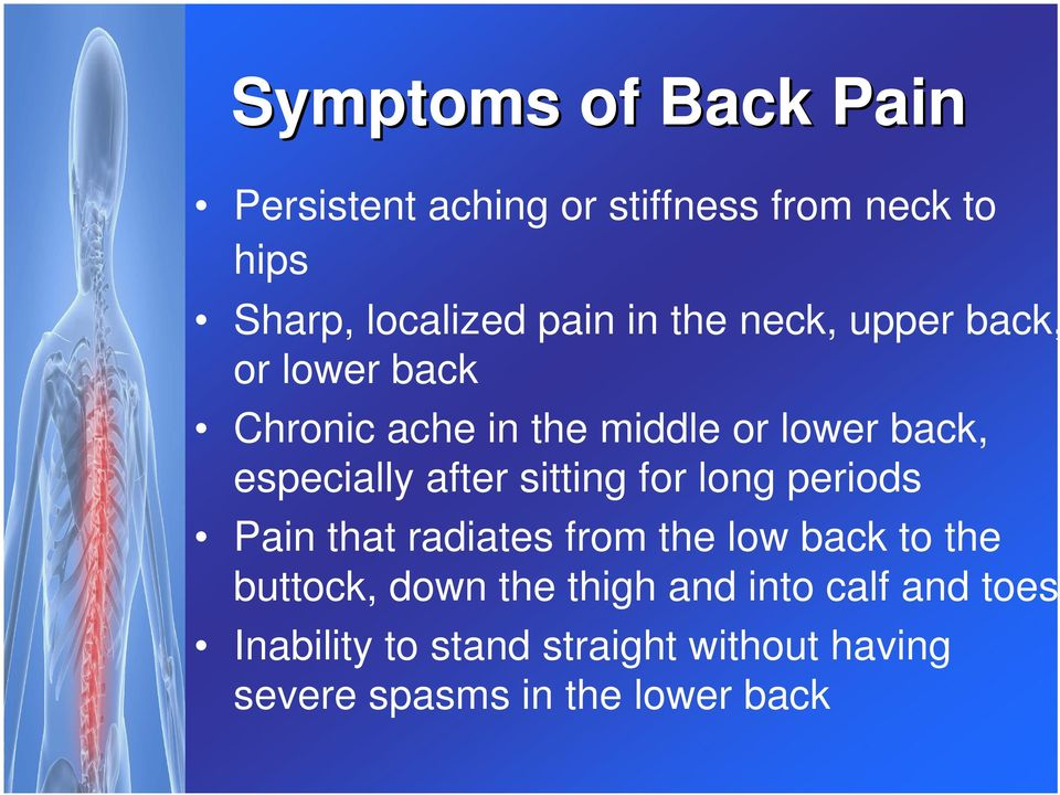 sitting for long periods Pain that radiates from the low back to the buttock, down the thigh