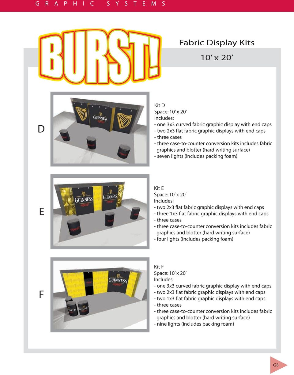 1x3 flat fabric graphic displays with end caps - three cases - three case-to-counter conversion kits includes fabric graphics and blotter (hard writing surface) - four lights (includes packing foam)