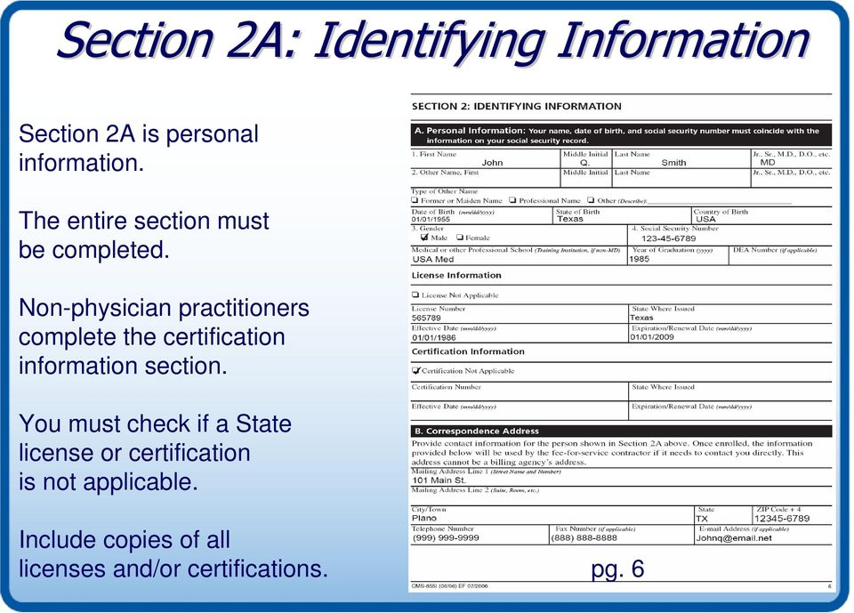 Non-physician practitioners complete the certification information section.