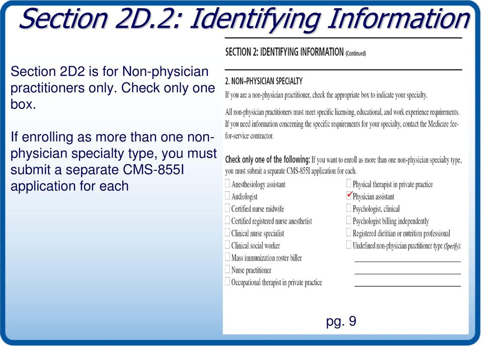Non-physician practitioners only. Check only one box.