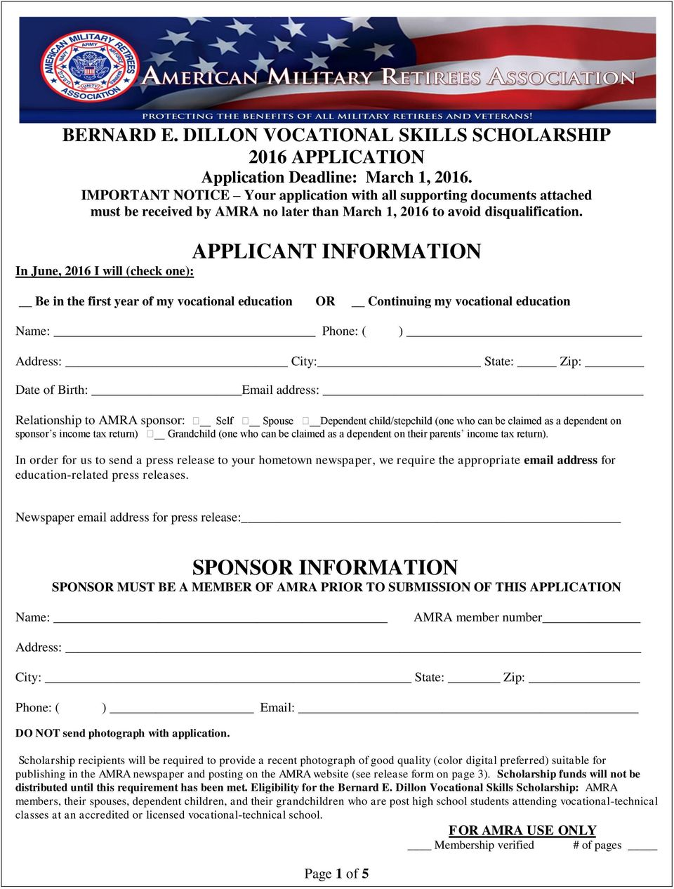 APPLICANT INFORMATION In June, 2016 I will (check one): Be in the first year of my vocational education OR Continuing my vocational education Name: Phone: ( ) Address: City: State: Zip: Date of