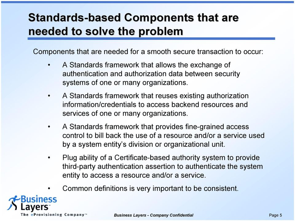 A Standards framework that reuses existing authorization information/credentials to access backend resources and services of one or many organizations.