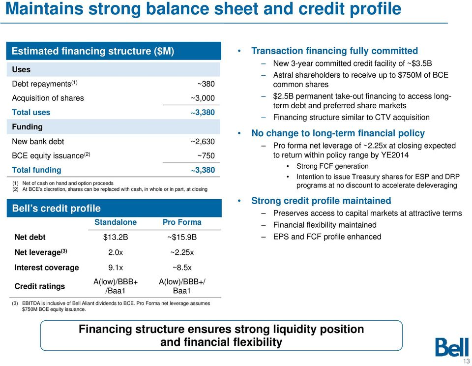profile Standalone Pro Forma Net debt $13.2B ~$15.9B Transaction financing fully committed New 3-year committed credit facility of ~$3.