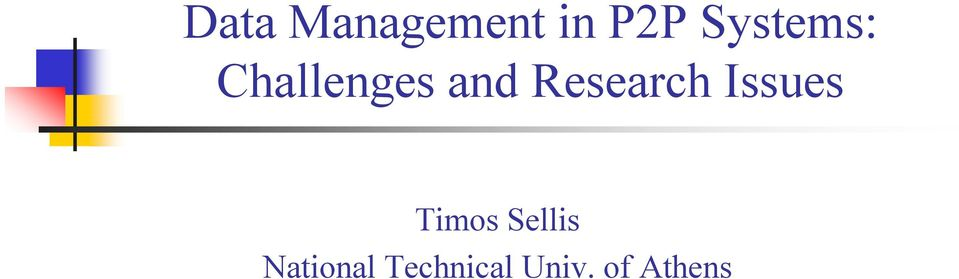 Research Issues Timos