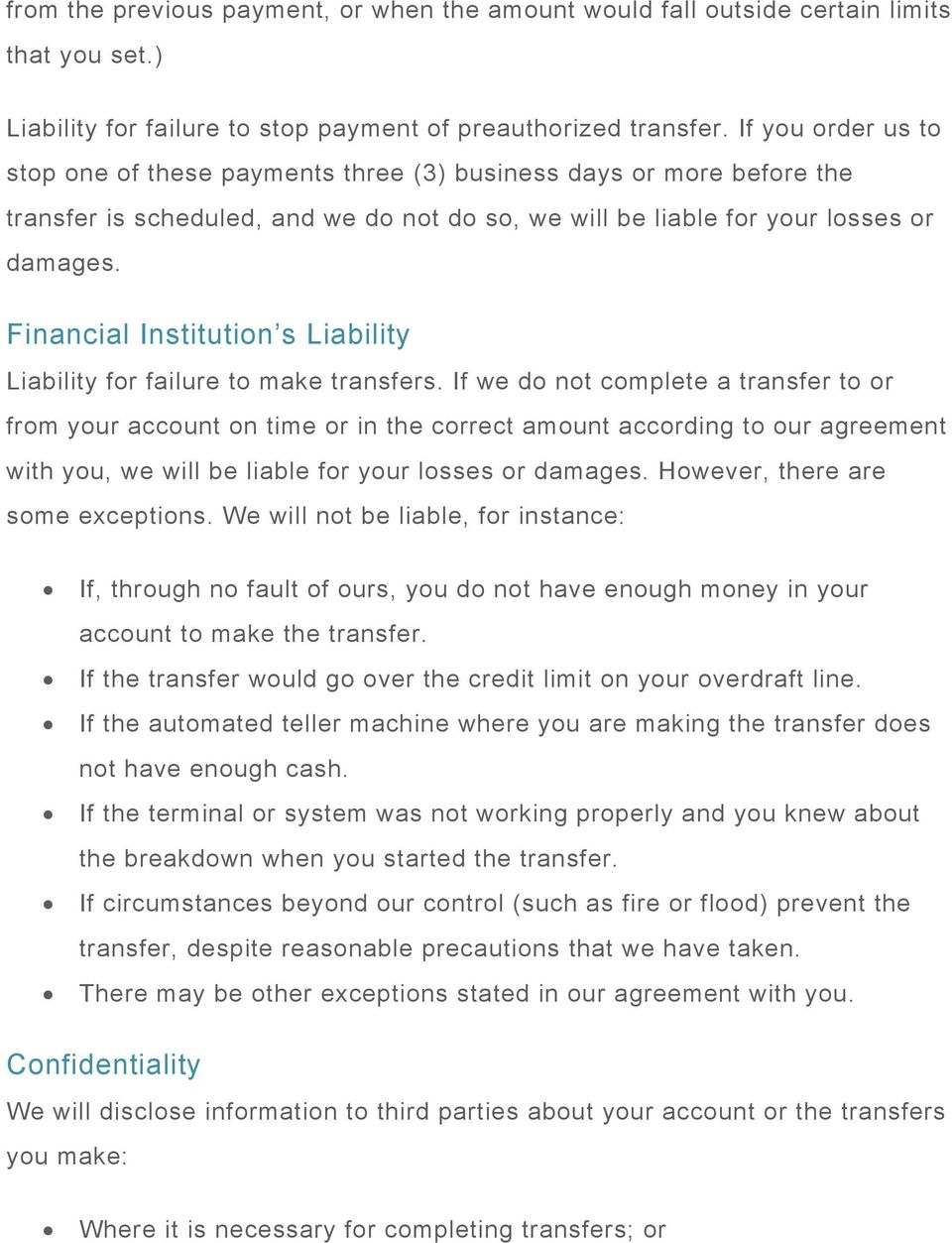 Financial Institution s Liability Liability for failure to make transfers.