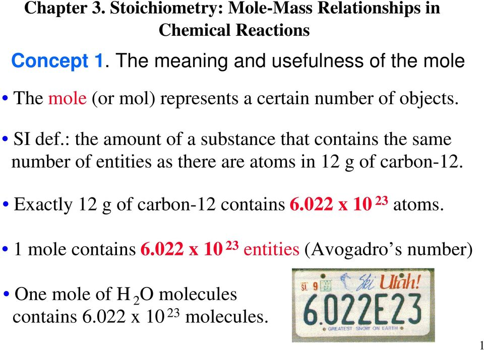 : the amount of a substance that contains the same number of entities as there are atoms in 12 g of carbon-12.