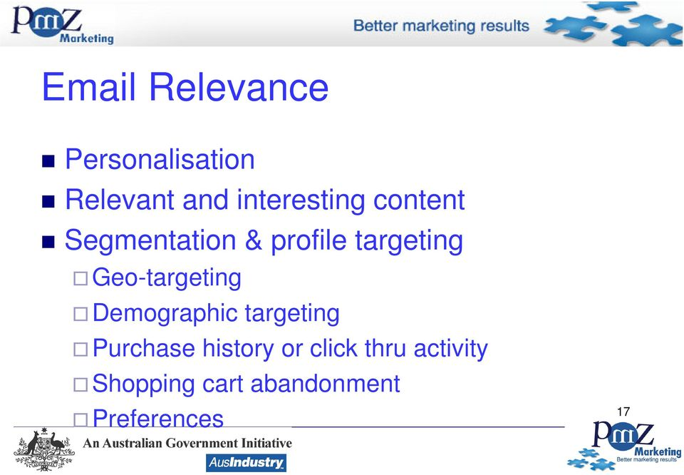 Geo-targeting Demographic targeting Purchase history