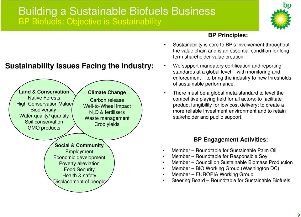 Health & safety Displacement of people BP Principles: Sustainability is core to BP s involvement throughout the value chain and is an essential condition for long term shareholder value creation.