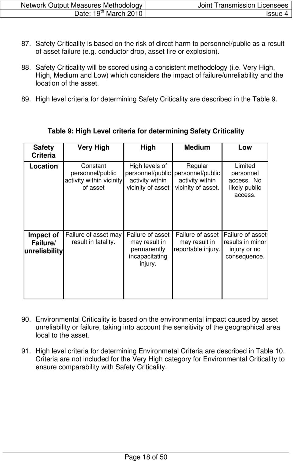 High level criteria for determining Safety Criticality are described in the Table 9.