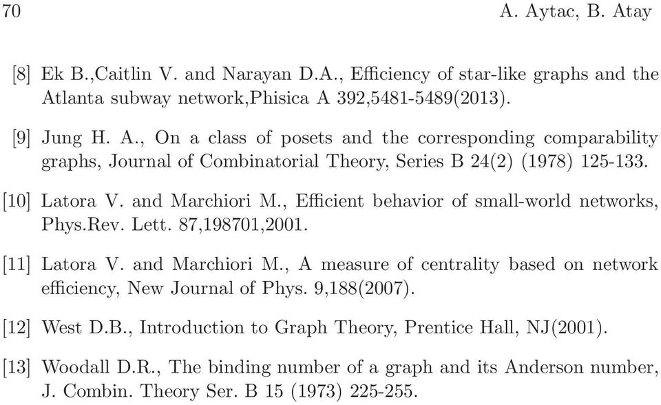 9,88(007). [] West D.B., Introduction to Graph Theory, Prentice Hall, NJ(00). [3] Woodall D.R., The binding number of a graph and its Anderson number, J. Combin.
