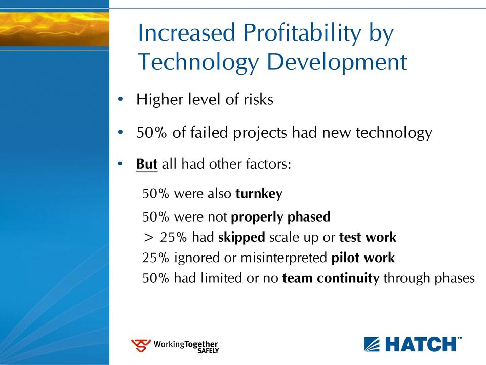 turnkey 50% were not properly phased > 25% had skipped scale up or test work 25%