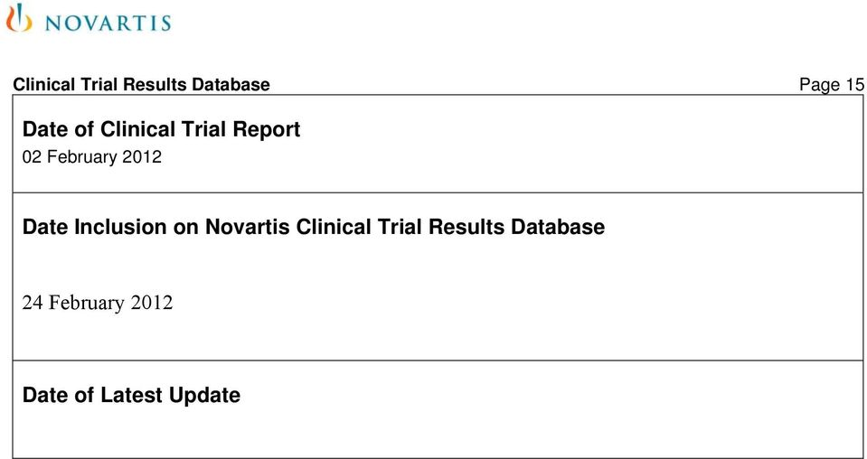 Date Inclusion on Novartis Clinical Trial