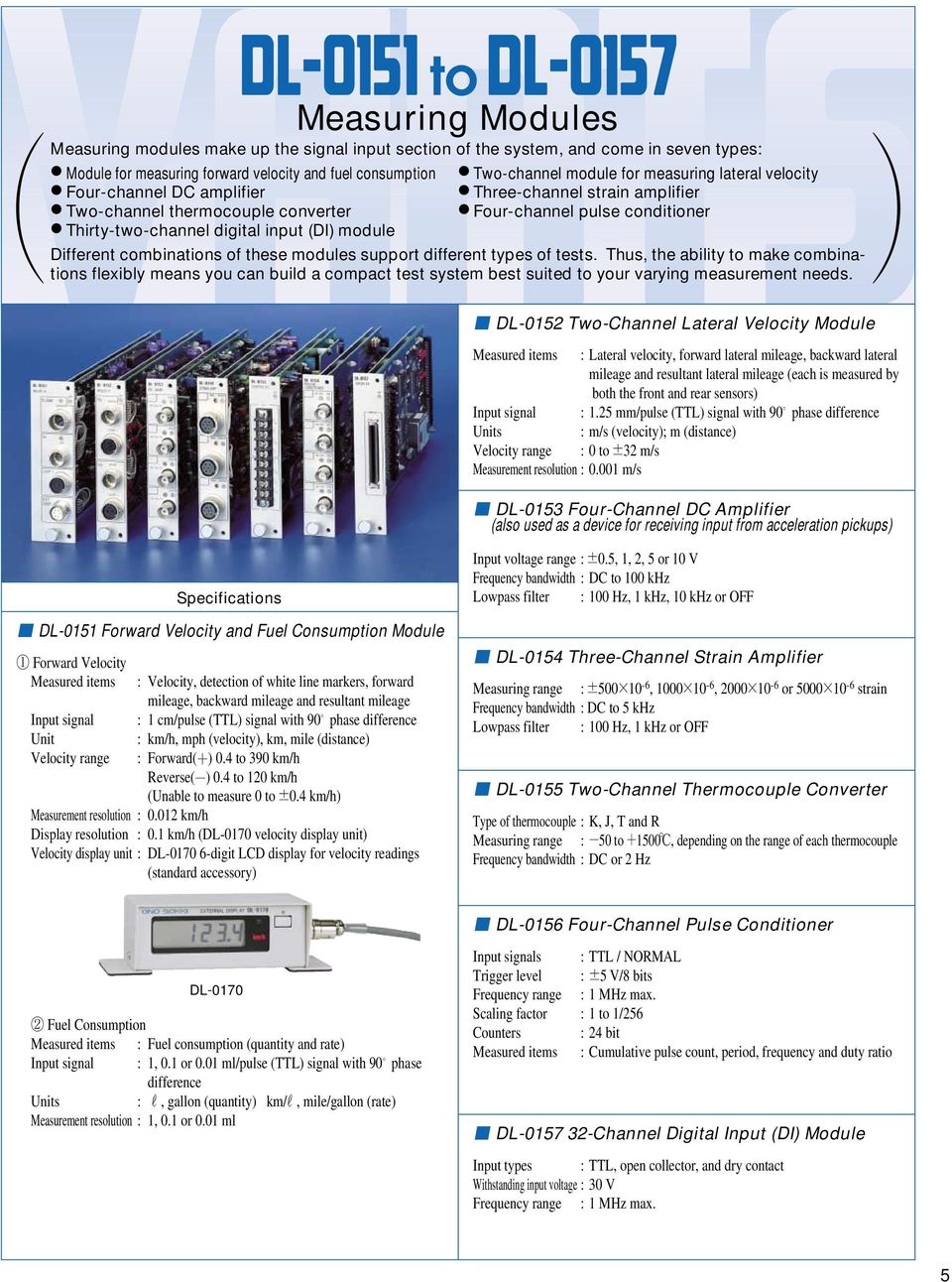 Different combinations of these modules support different types of tests.