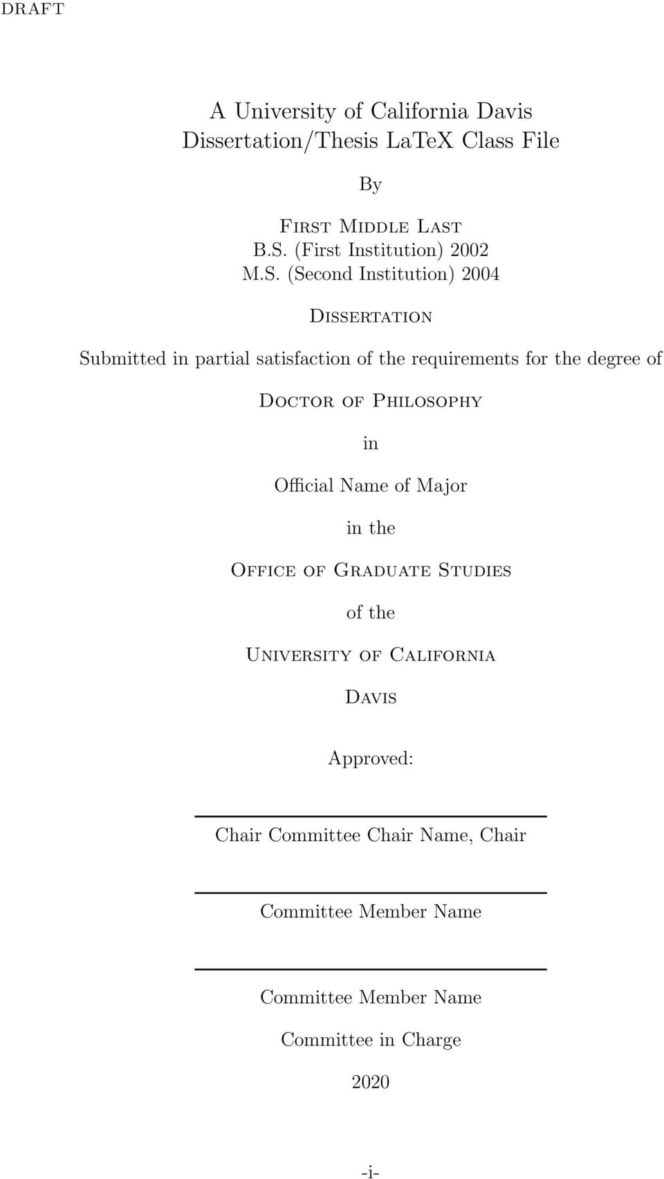 (Second Institution) 2004 Dissertation Submitted in partial satisfaction of the requirements for the degree of Doctor