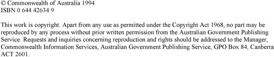 prior written permission from the Australian Government Publishing Service.