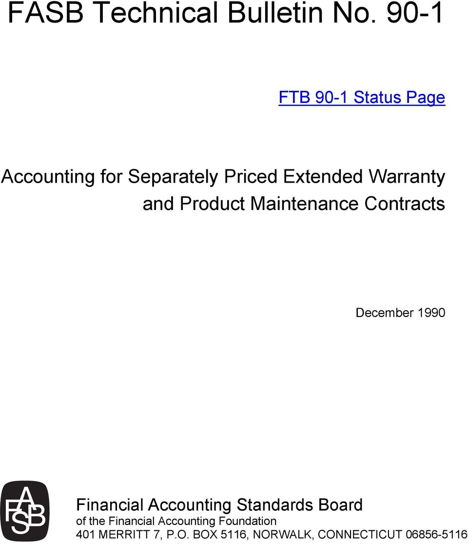 Warranty and Product Maintenance Contracts December 1990 Financial