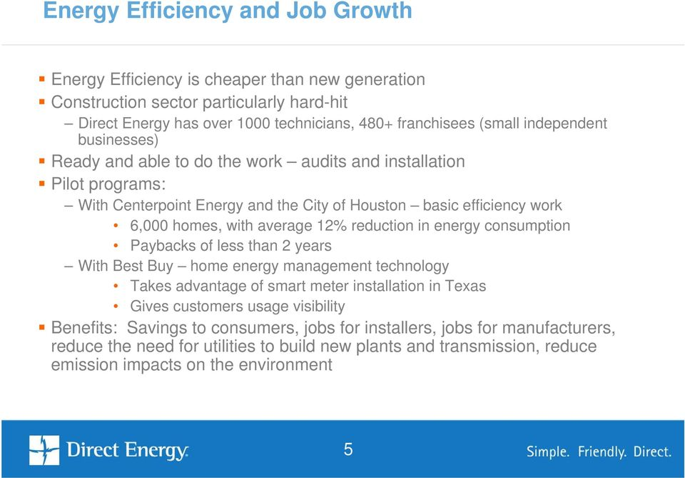reduction in energy consumption Paybacks of less than 2 years With Best Buy home energy management technology Takes advantage of smart meter installation in Texas Gives customers usage