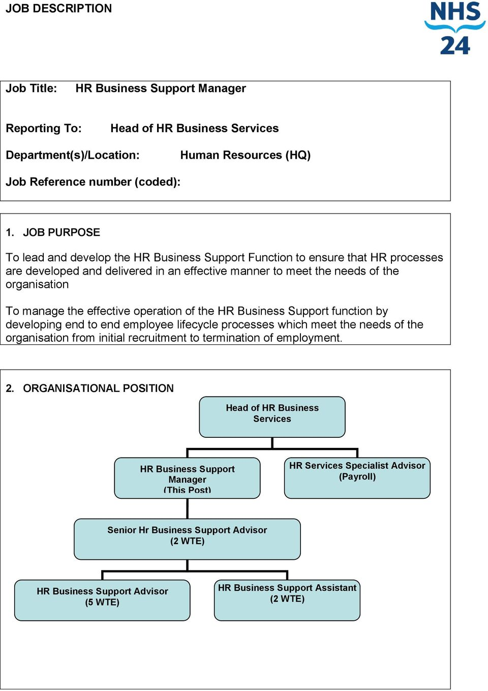 effective operation of the HR Business Support function by developing end to end employee lifecycle processes which meet the needs of the organisation from initial recruitment to termination of