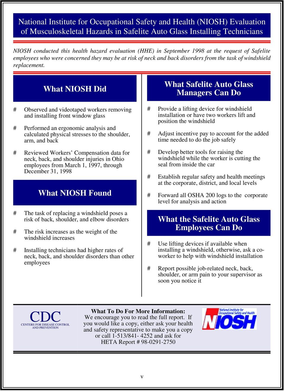What NIOSH Did # Observed and videotaped workers removing and installing front window glass # Performed an ergonomic analysis and calculated physical stresses to the shoulder, arm, and back #