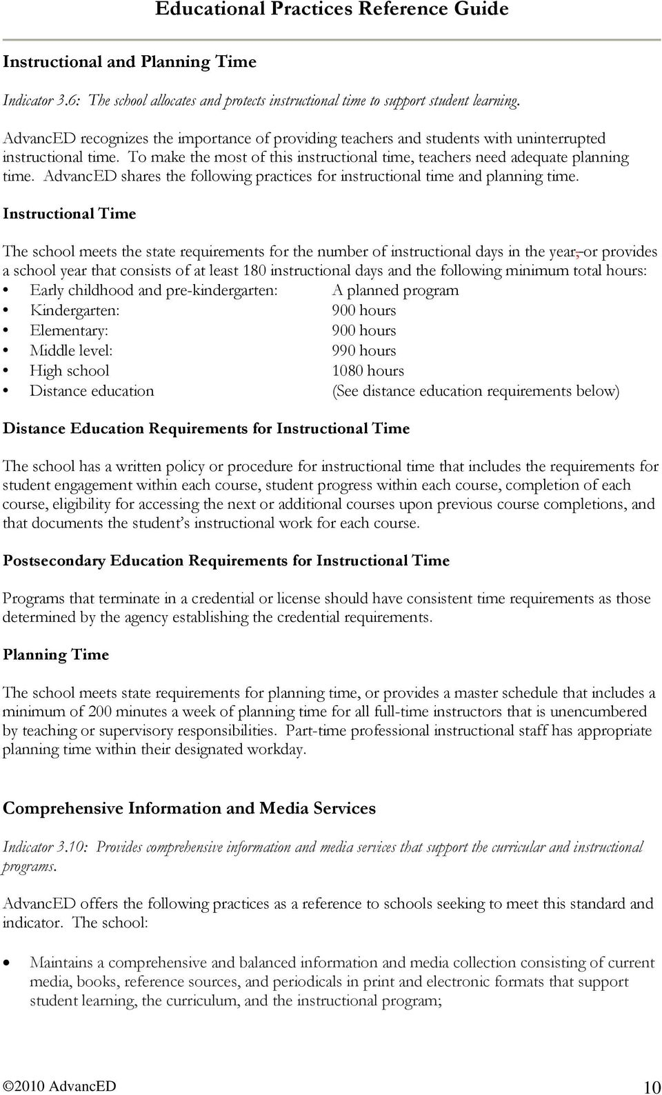 AdvancED shares the following practices for instructional time and planning time.