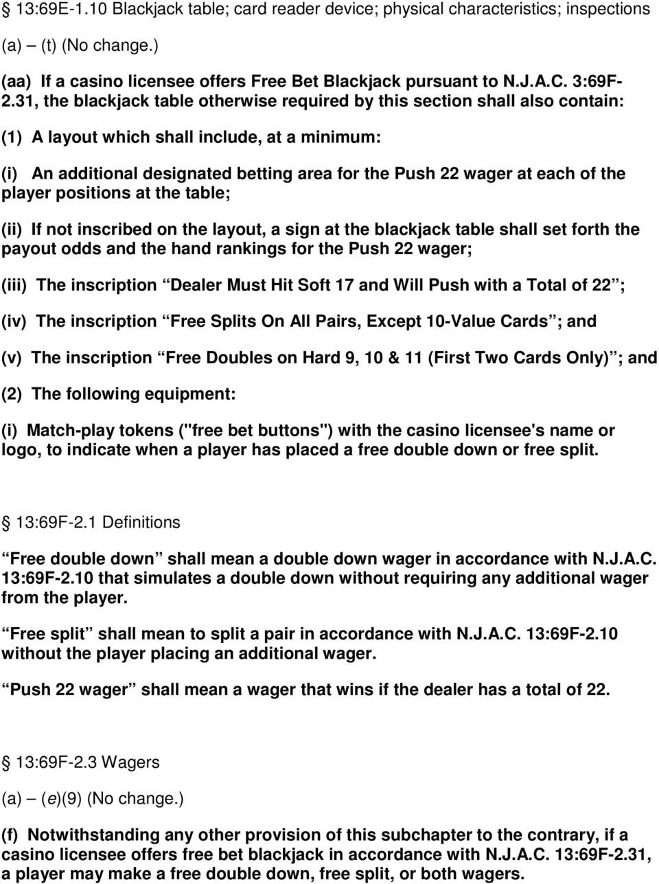 of the player positions at the table; (ii) If not inscribed on the layout, a sign at the blackjack table shall set forth the payout odds and the hand rankings for the Push 22 wager; (iii) The