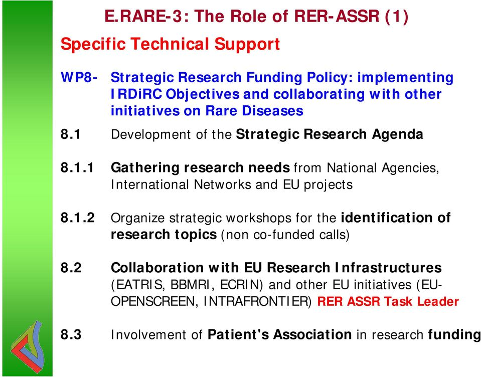 1.2 Organize strategic workshops for the identification of research topics (non co-funded calls) 8.