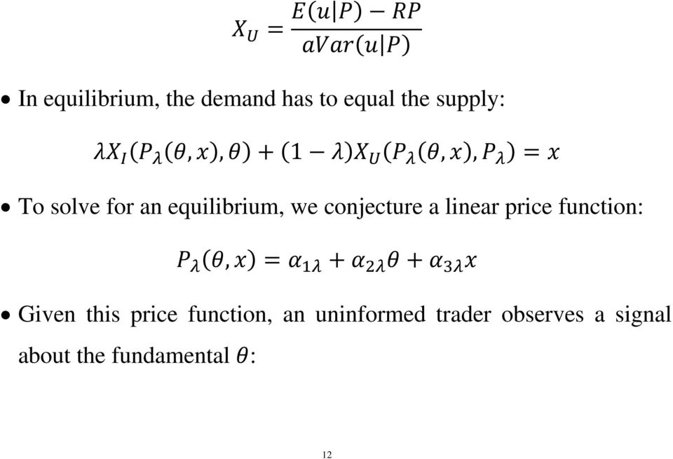 linear price function:, Given this price function, an