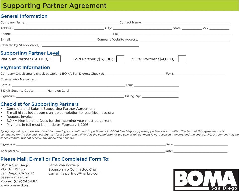 Billing Zip: : Checklist for s Complete and Submit Agreement E-mail hi-res logo upon sign up completion to: bae@bomasd.