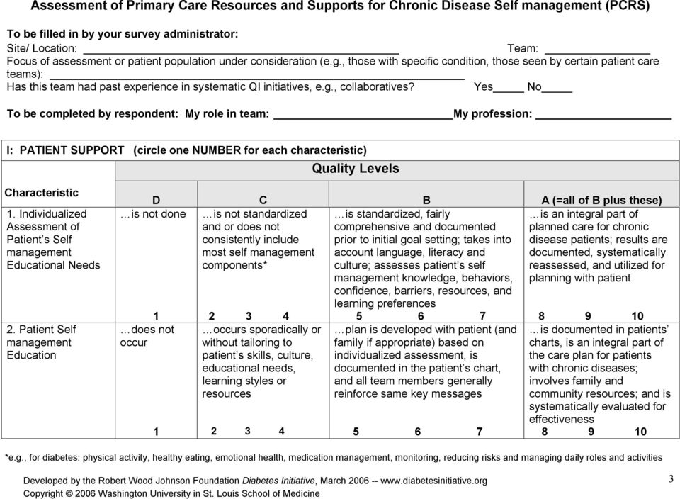 Yes No To be completed by respondent: My role in team: My profession: I: PATIENT SUPPORT (circle one NUMBER for each characteristic) Quality Levels Characteristic.