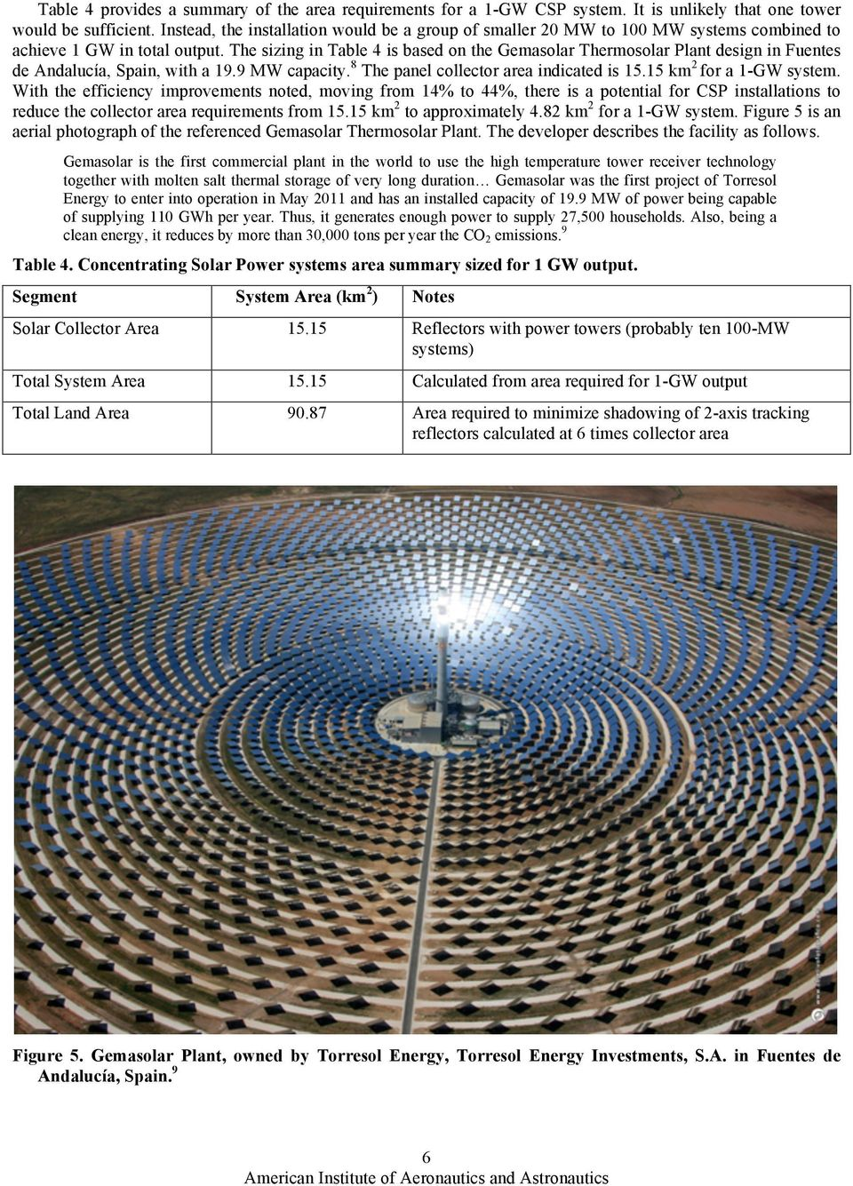The sizing in Table 4 is based on the Gemasolar Thermosolar Plant design in Fuentes de Andalucía, Spain, with a 19.9 MW capacity. 8 The panel collector area indicated is 15.15 km 2 for a 1-GW system.