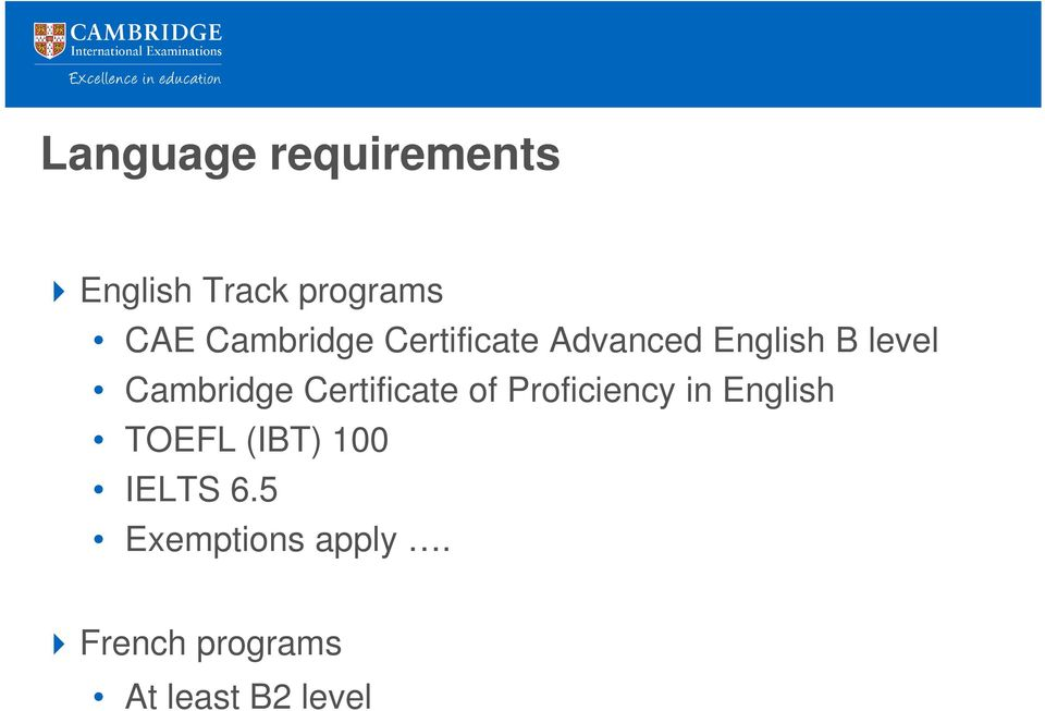Cambridge Certificate of Proficiency in English TOEFL