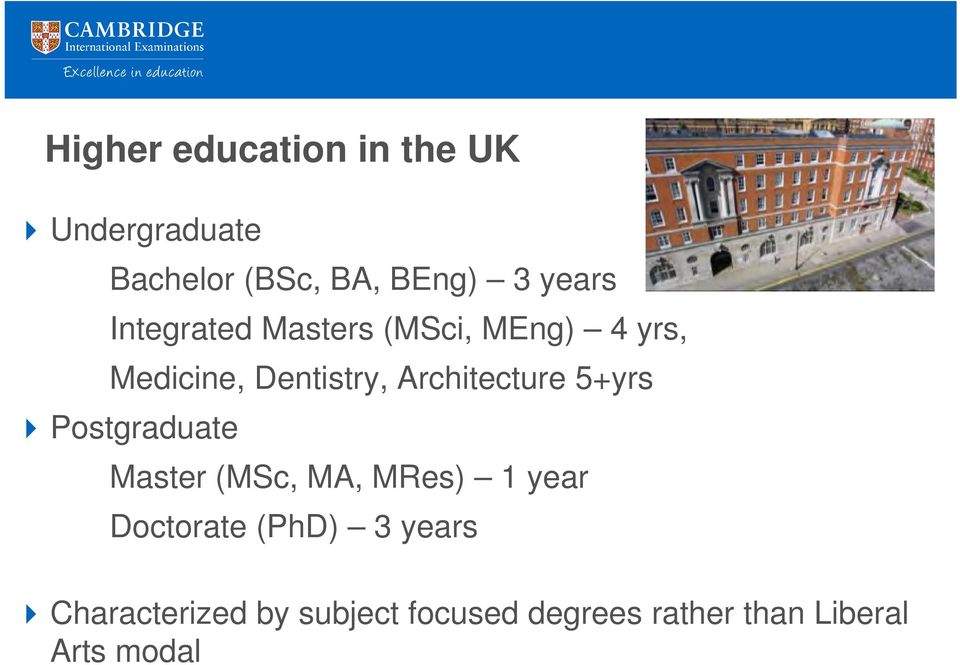 Architecture 5+yrs Postgraduate Master (MSc, MA, MRes) 1 year Doctorate