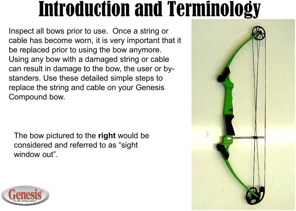 Using any bow with a damaged string or cable can result in damage to the bow, the user or bystanders.