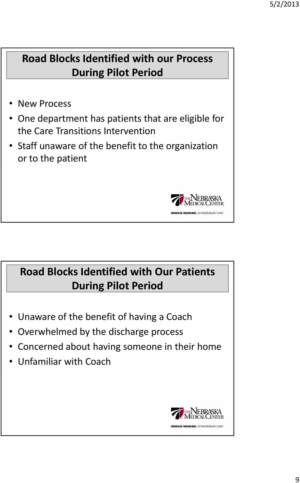 the patient Road Blocks Identified with Our Patients During Pilot Period Unaware of the benefit of having a