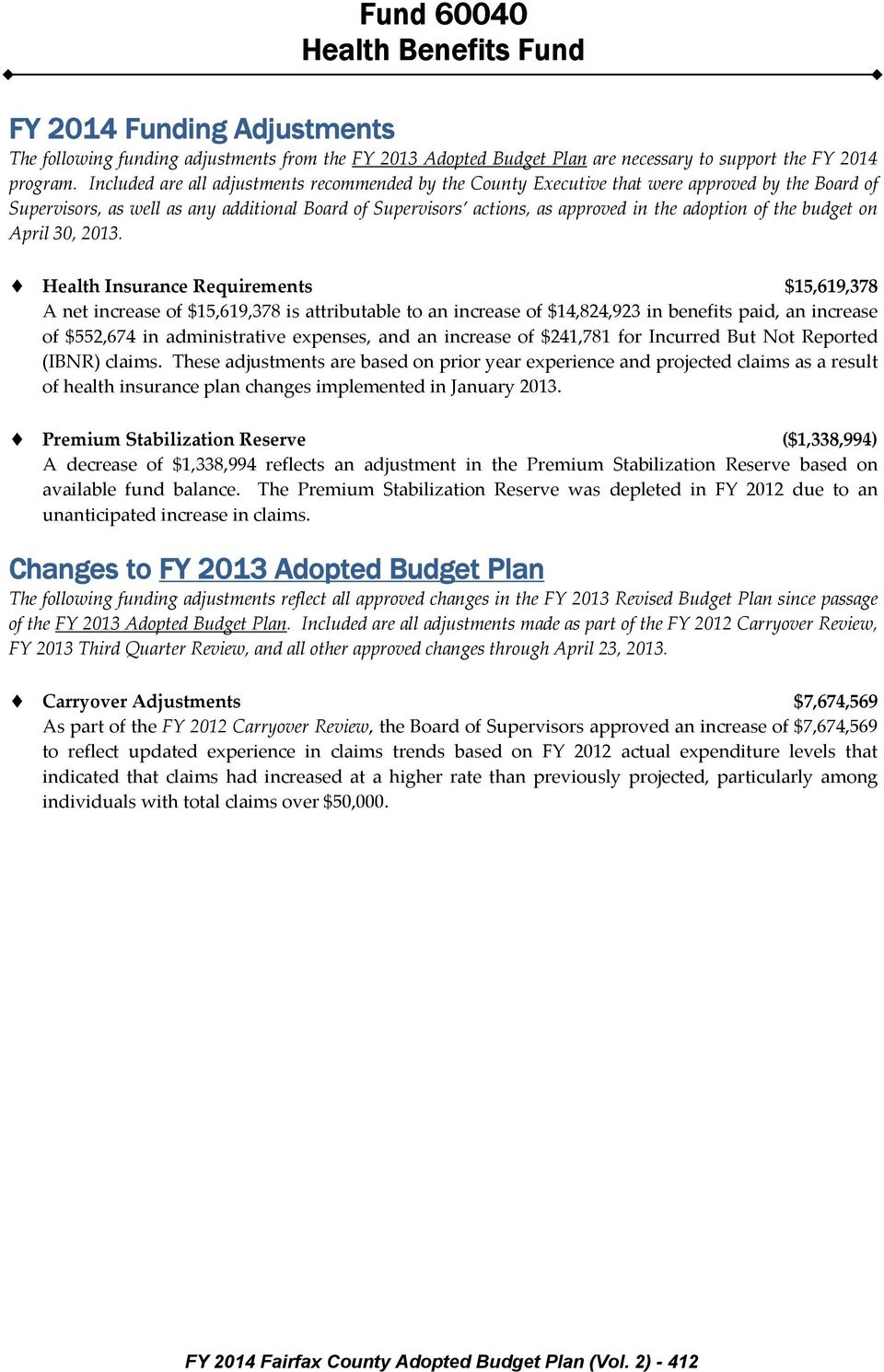the budget on April 30, 2013.