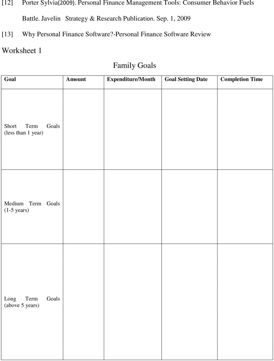 -Personal Finance Software Review Worksheet 1 Family Goals Goal Amount Expenditure/Month Goal