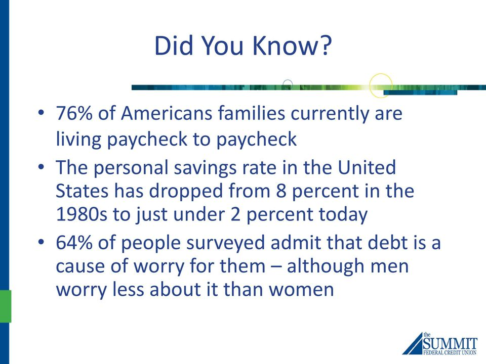 personal savings rate in the United States has dropped from 8 percent in the