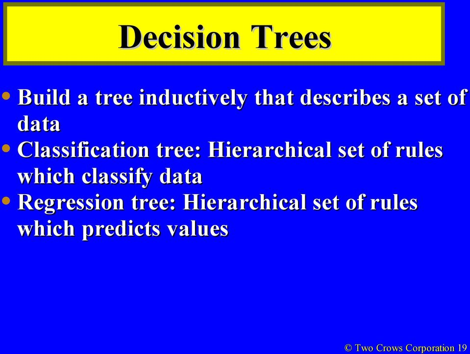 rules which classify data Regression tree: Hierarchical