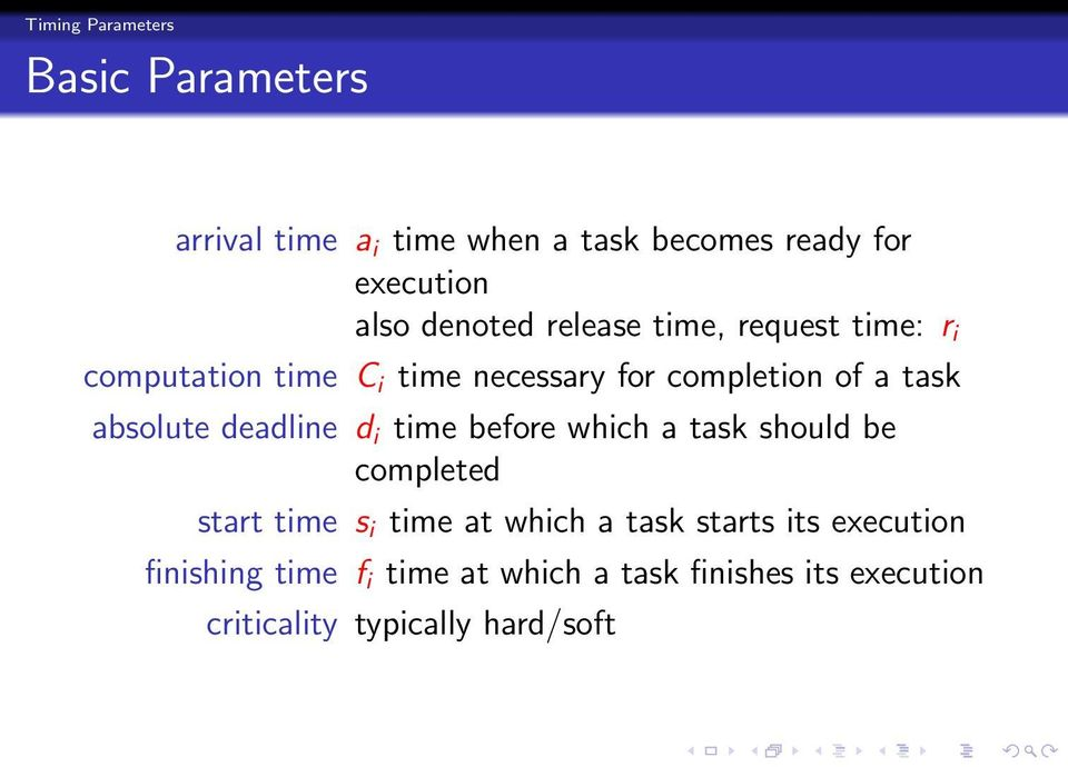 absolute deadline d i time before which a task should be completed start time s i time at which a task