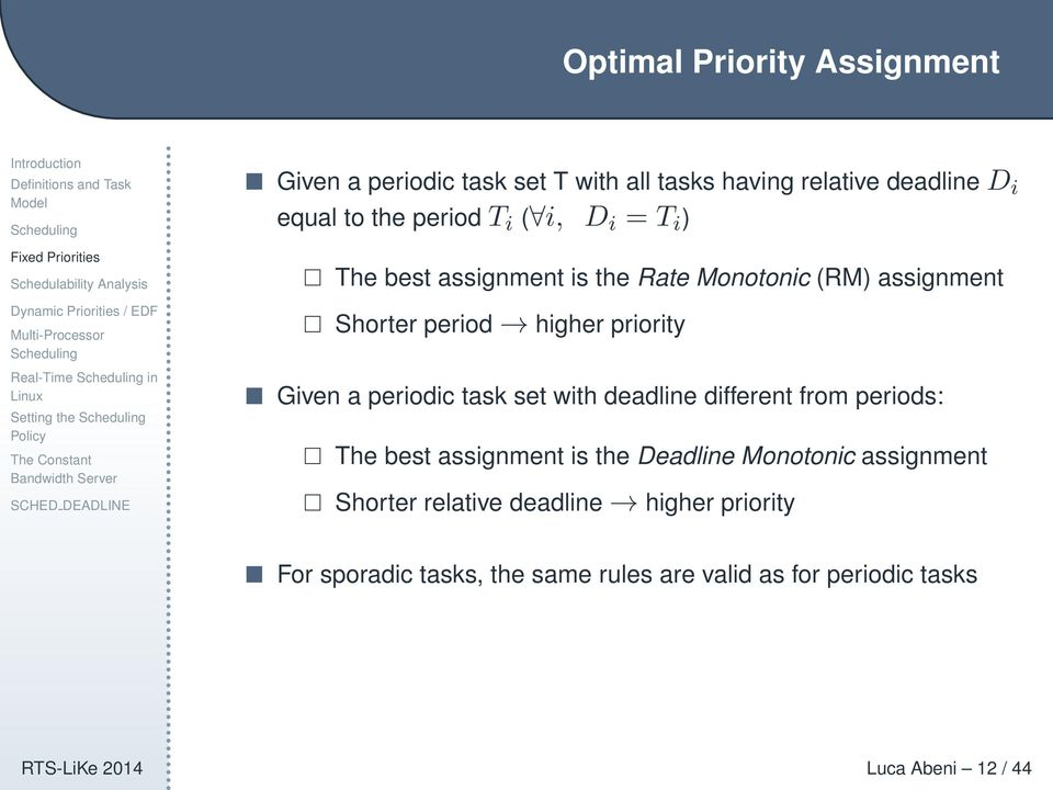 Given a periodic task set with deadline different from periods: The best assignment is the Deadline Monotonic assignment Shorter
