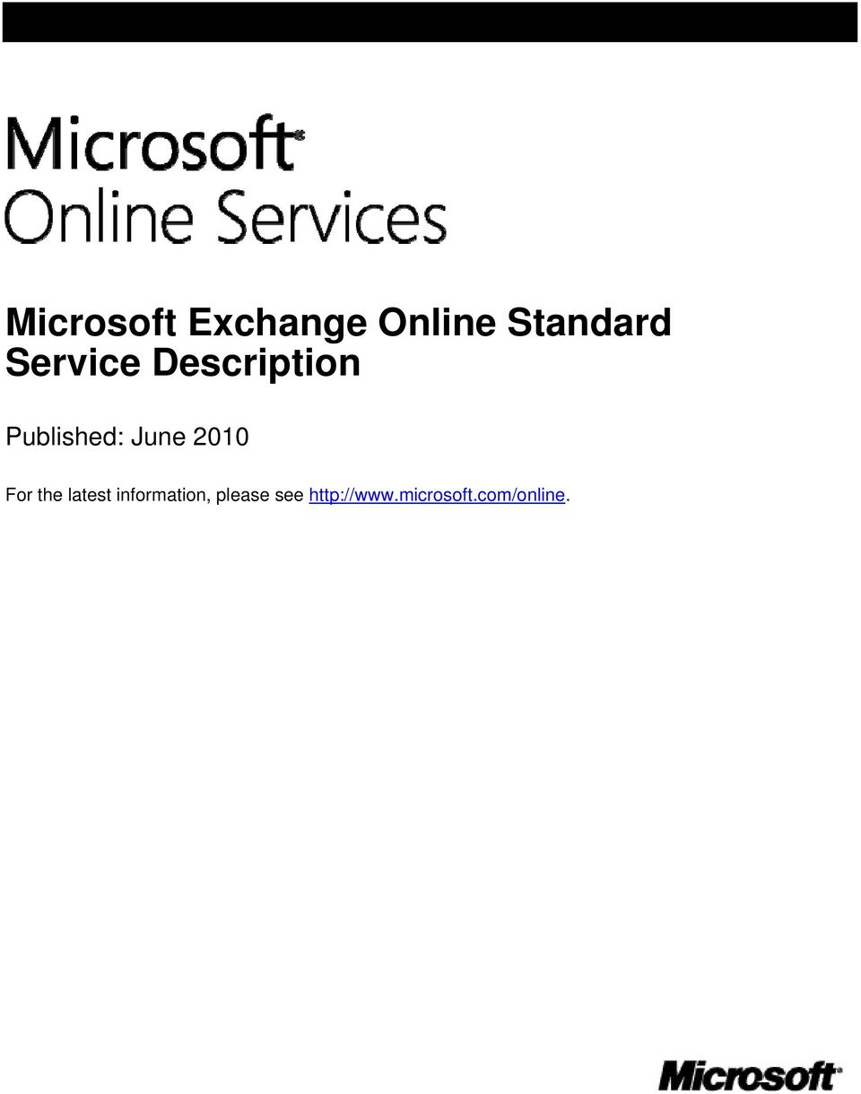 Microsoft Exchange Online Standard Service Description - PDF