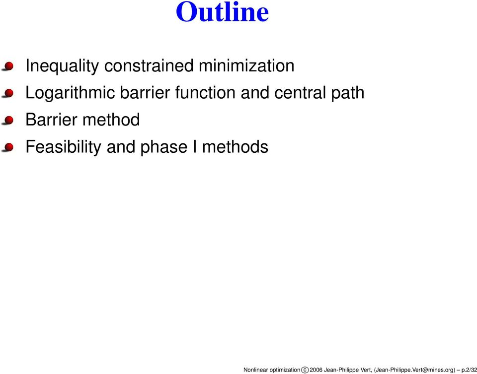 Feasibility and phase I methods Nonlinear optimization