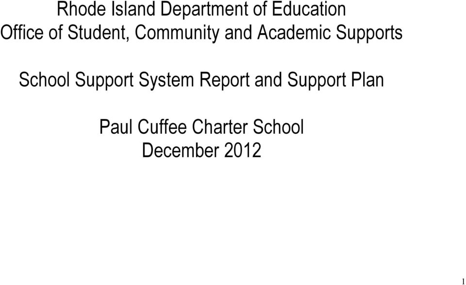 Supports School Support System Report and