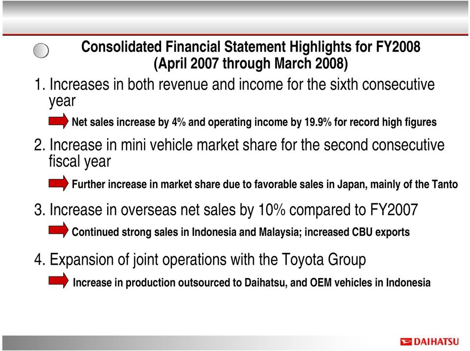 Increase in mini vehicle market share for the second consecutive fiscal year Further increase in market share due to favorable sales in Japan, mainly of the Tanto 3.