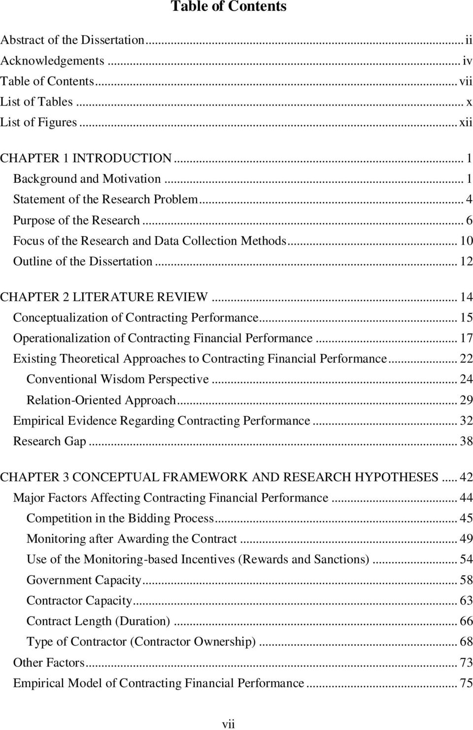.. 14 Conceptualization of Contracting Performance... 15 Operationalization of Contracting Financial Performance... 17 Existing Theoretical Approaches to Contracting Financial Performance.