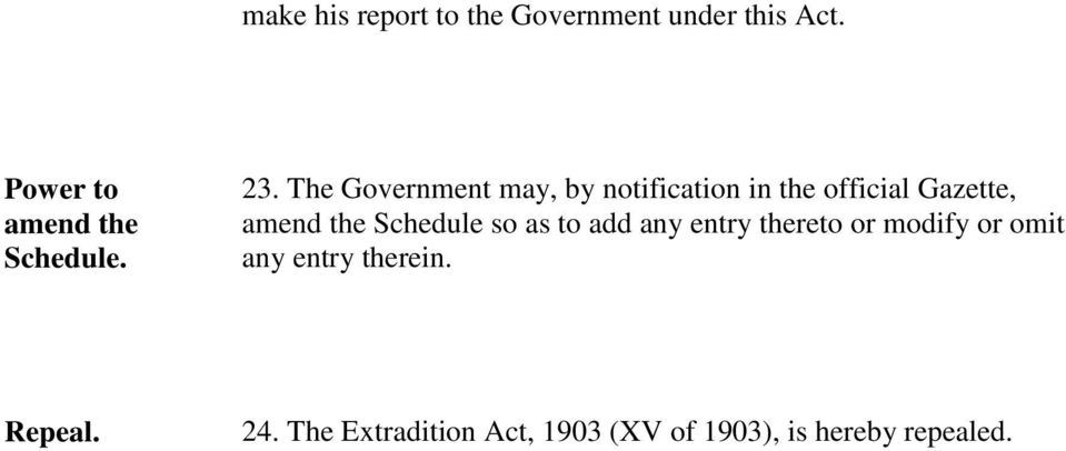 The Government may, by notification in the official Gazette, amend the