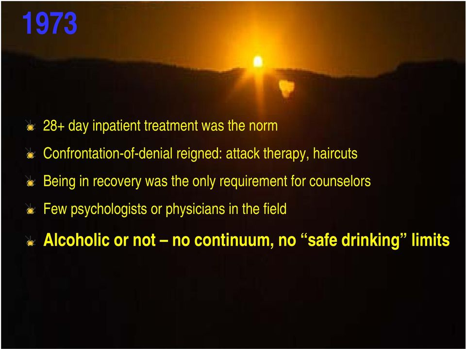 in recovery was the only requirement for counselors Few