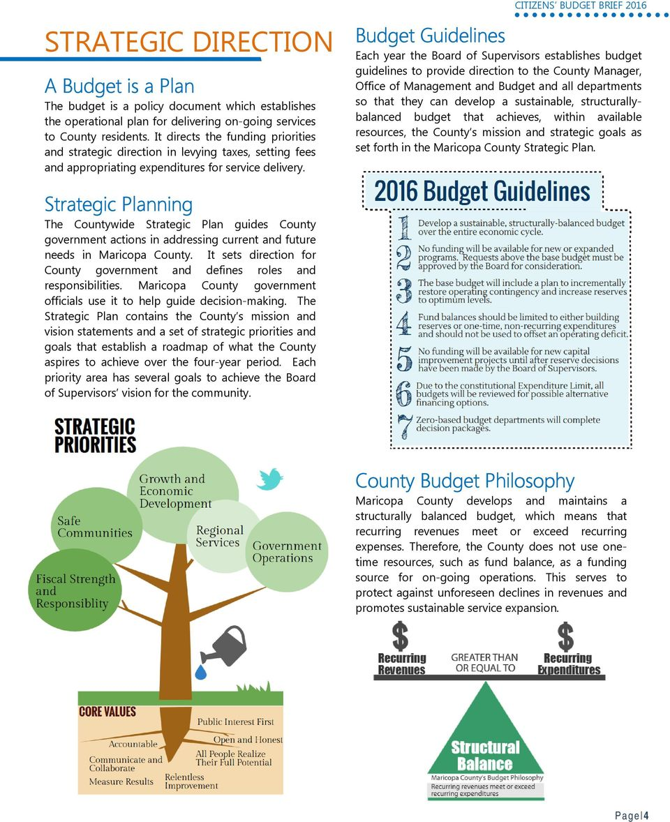 Budget Guidelines Each year the Board of Supervisors establishes budget guidelines to provide direction to the County Manager, Office of Management and Budget and all departments so that they can